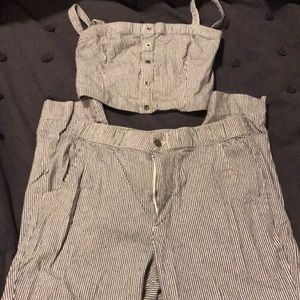 Hollister Navy and White Pinstripe Set